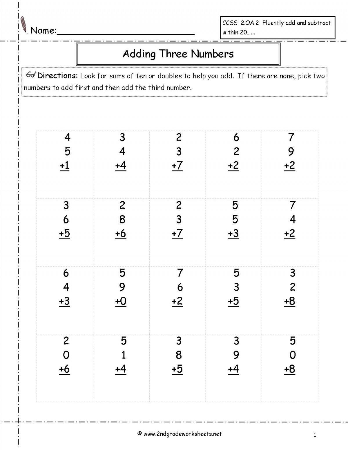Addition Games 2nd Grade Worksheets