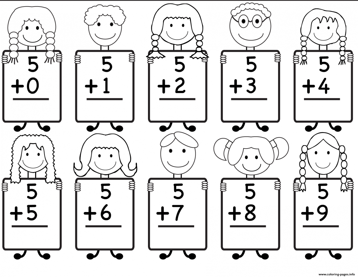 Addition Coloring Page Worksheets