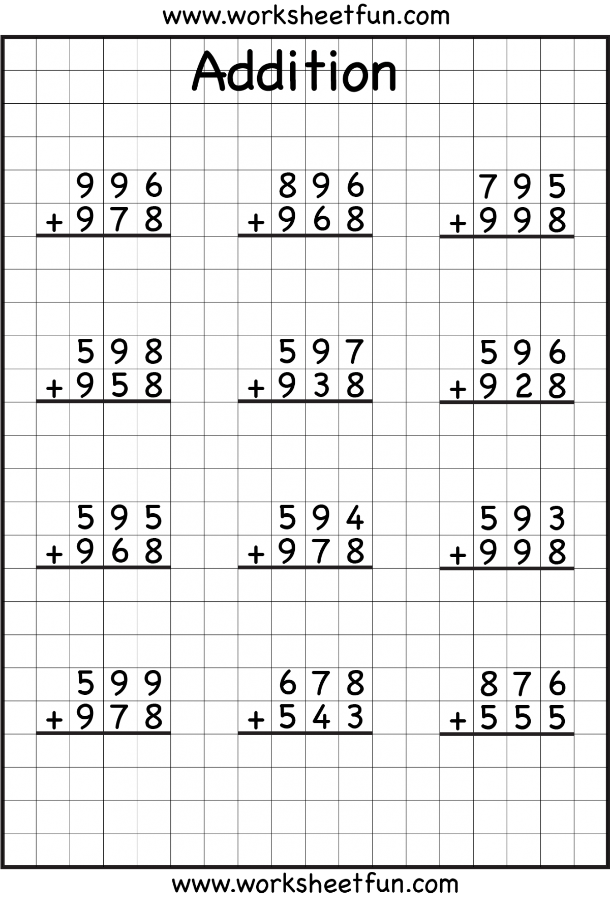 Addition With Regrouping 3rd Grade Worksheets