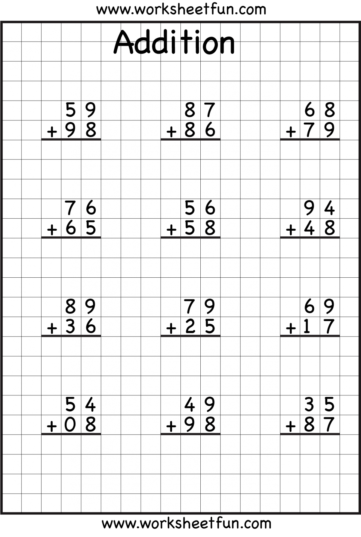Addition No Regrouping S With Graph Paper Worksheets
