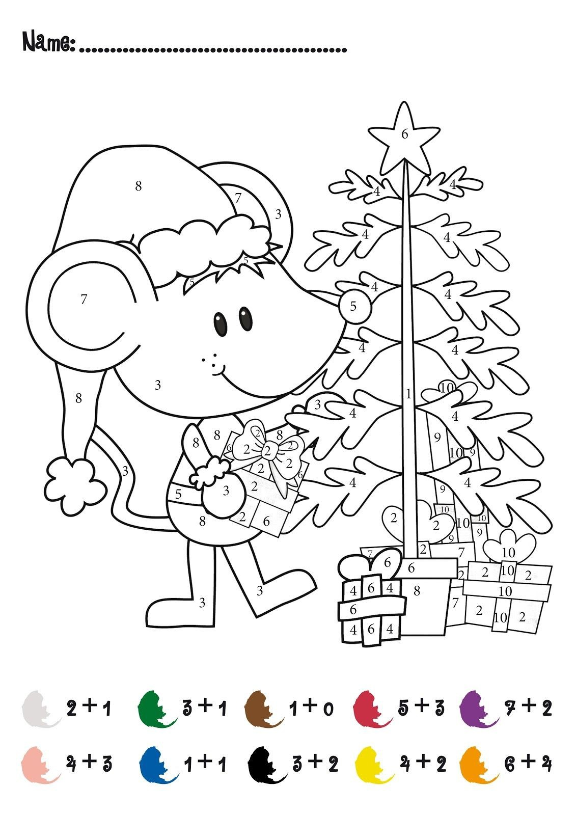 Christmas Addition Coloring Worksheets