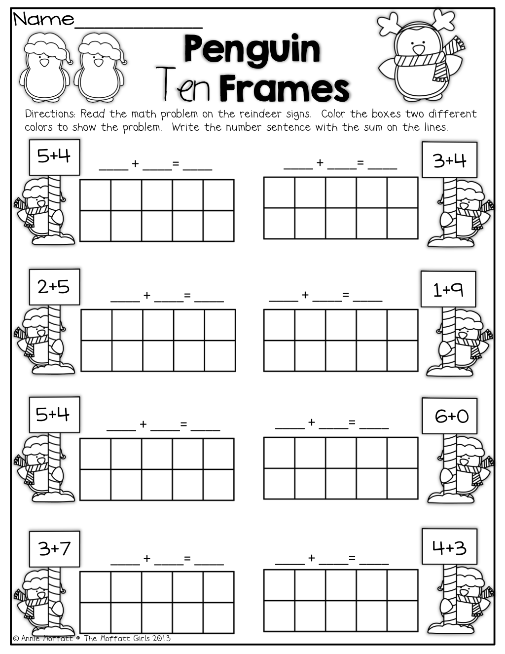 Ten Frames Addition Worksheets