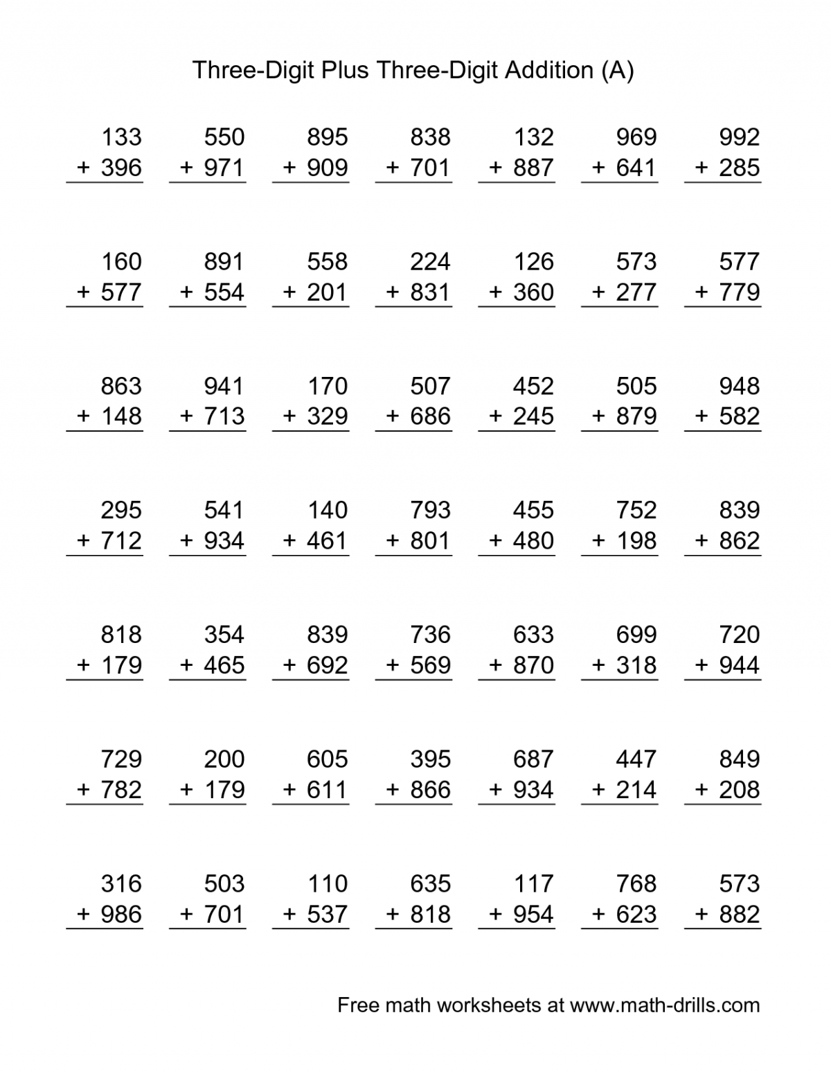 3 Digits Addition And Subtraction Worksheets