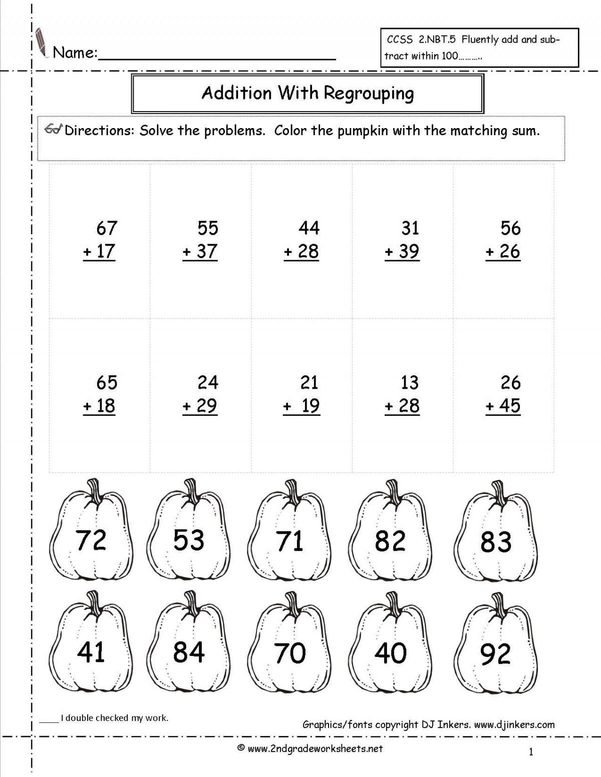 2 Digit Addition 2nd Grade Worksheets