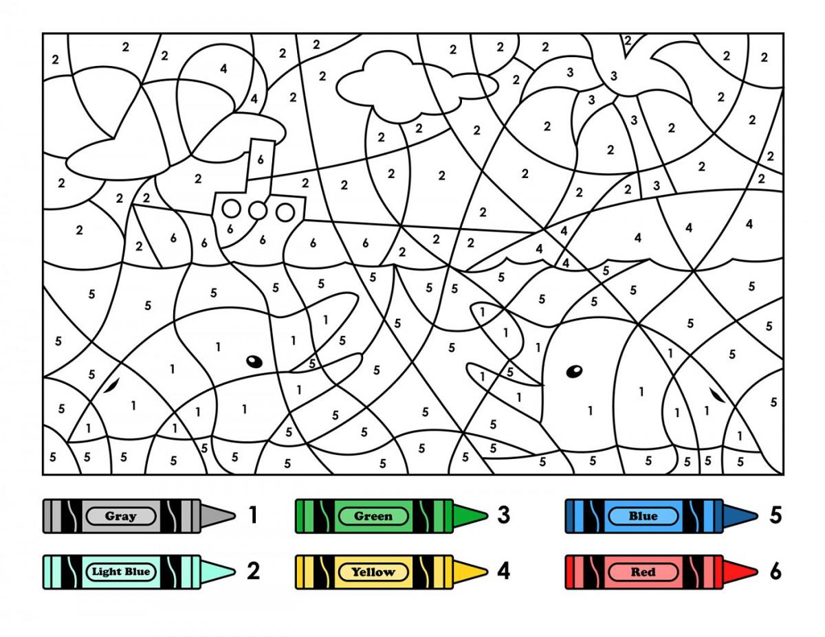 Color By Number Addition Kindergarten Worksheets