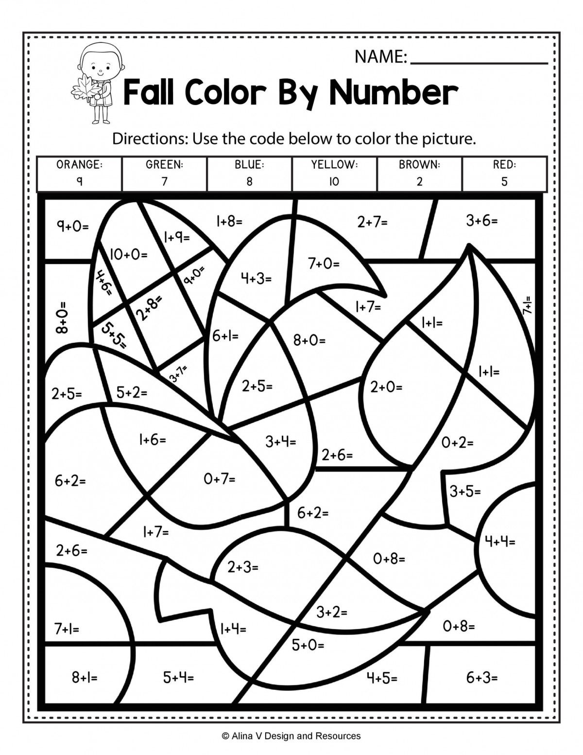 Fall Color By Number Addition Worksheets