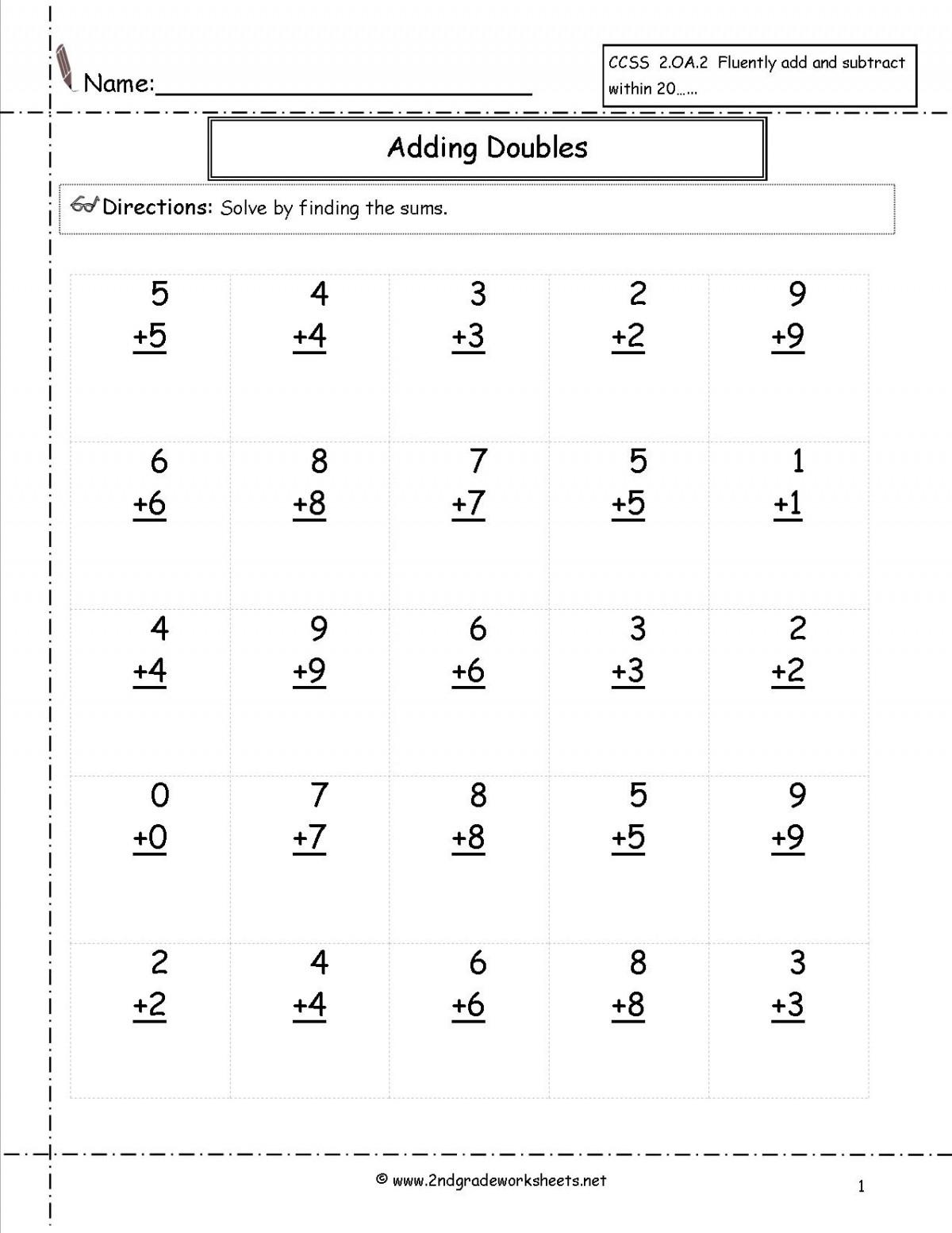 Single Digit Addition 0 10 Worksheets