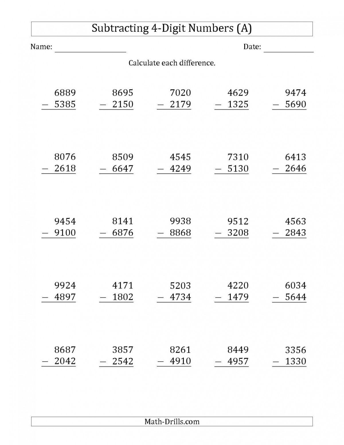Addition And Subtraction For 4th Grade Worksheets