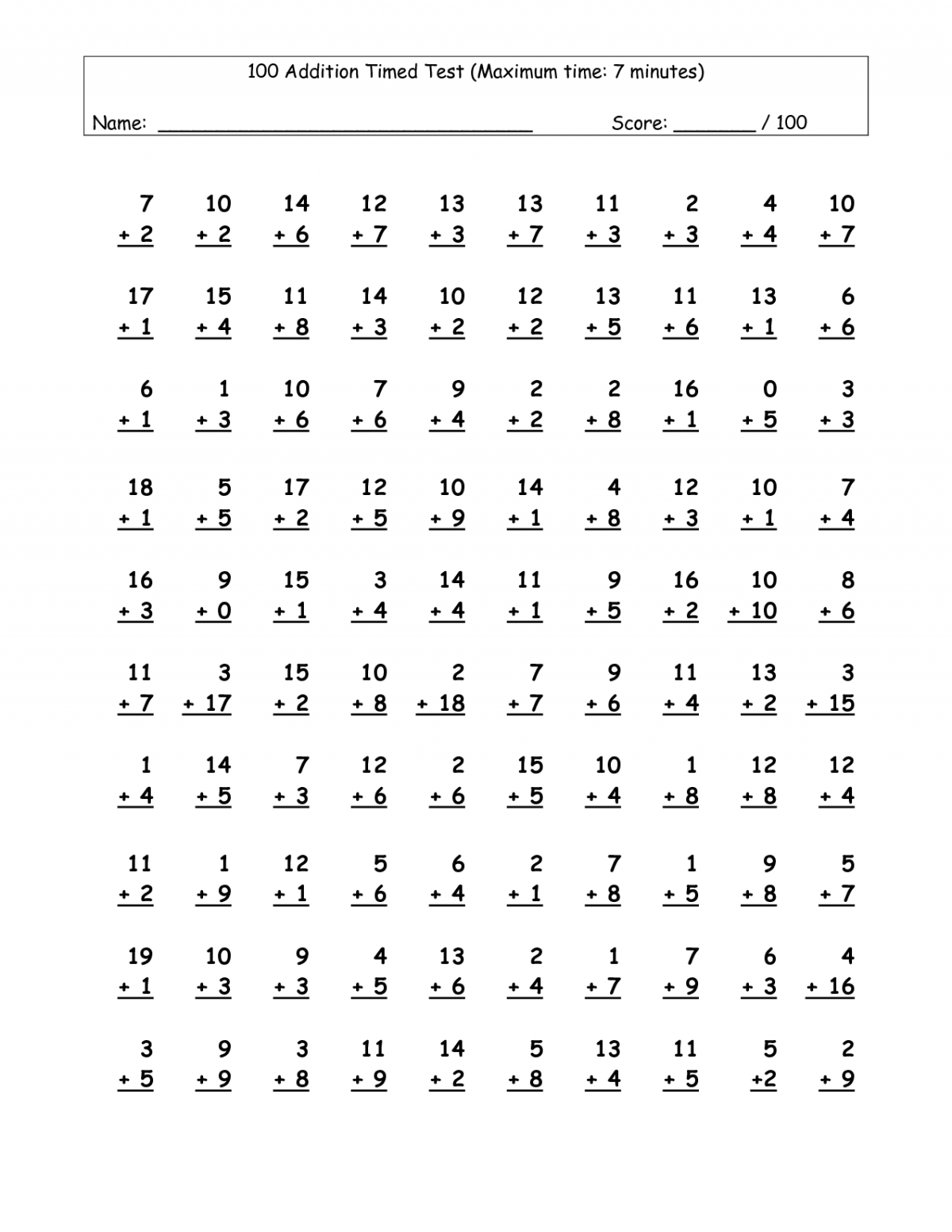 Timed Addition And Subtraction Tests Worksheets