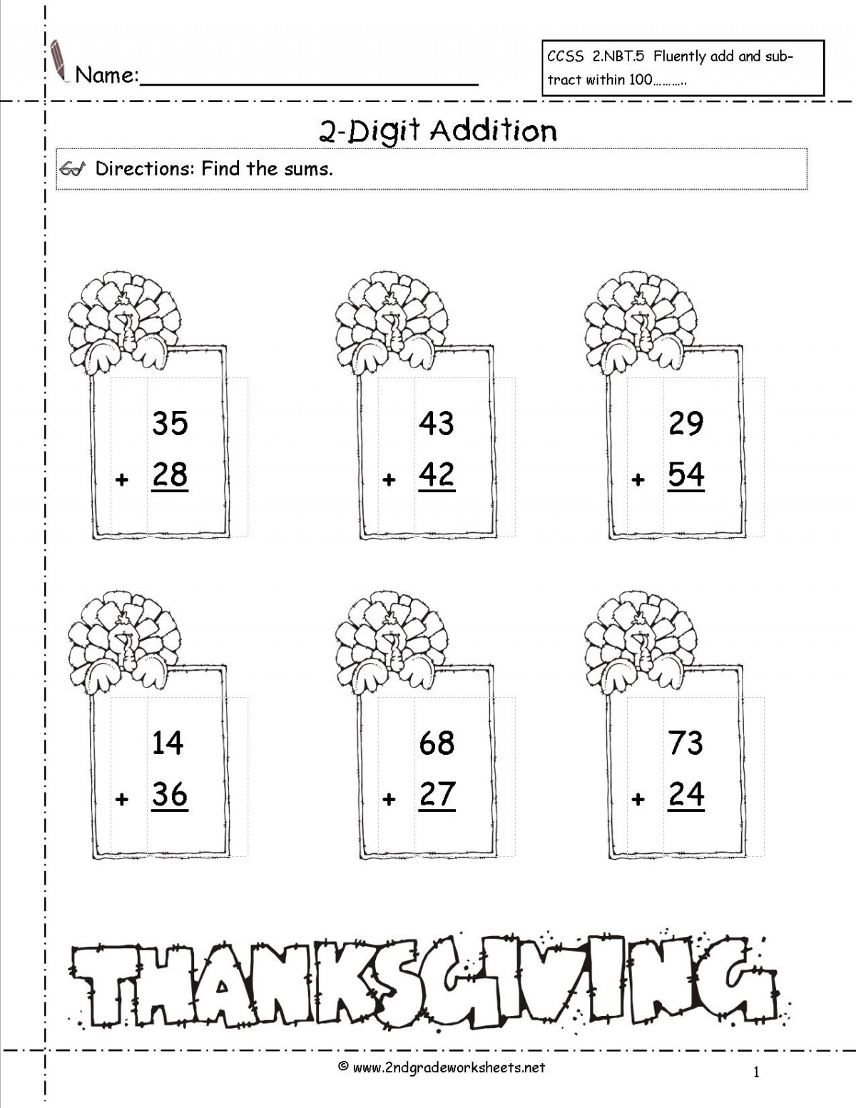 Thanksgiving Addition Worksheets