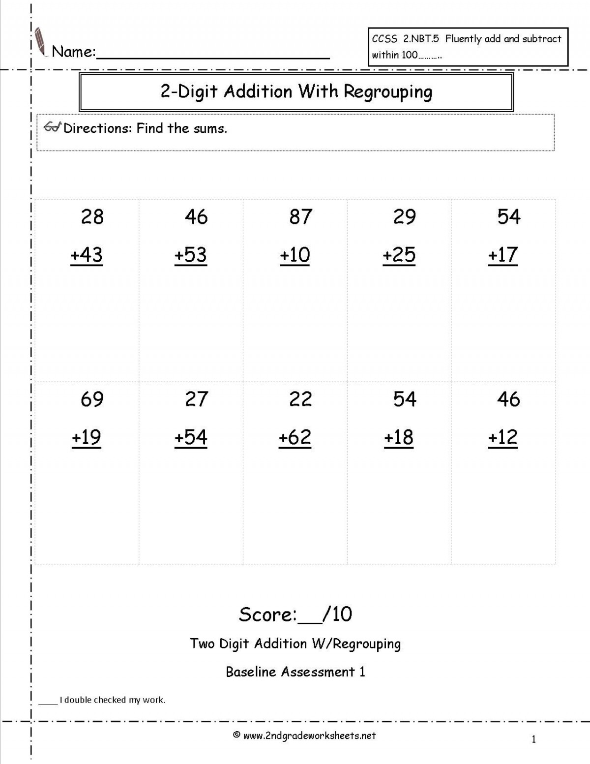 Addition For 2nd Grade Worksheets