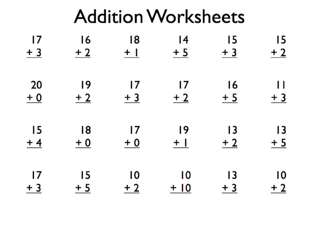 Maths Addition Activities Worksheets