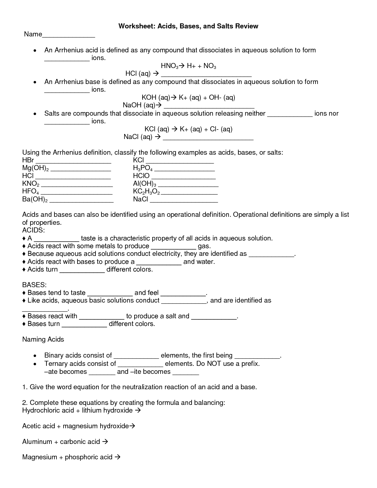 35 Ph Of Salt Solutions Worksheet Answers