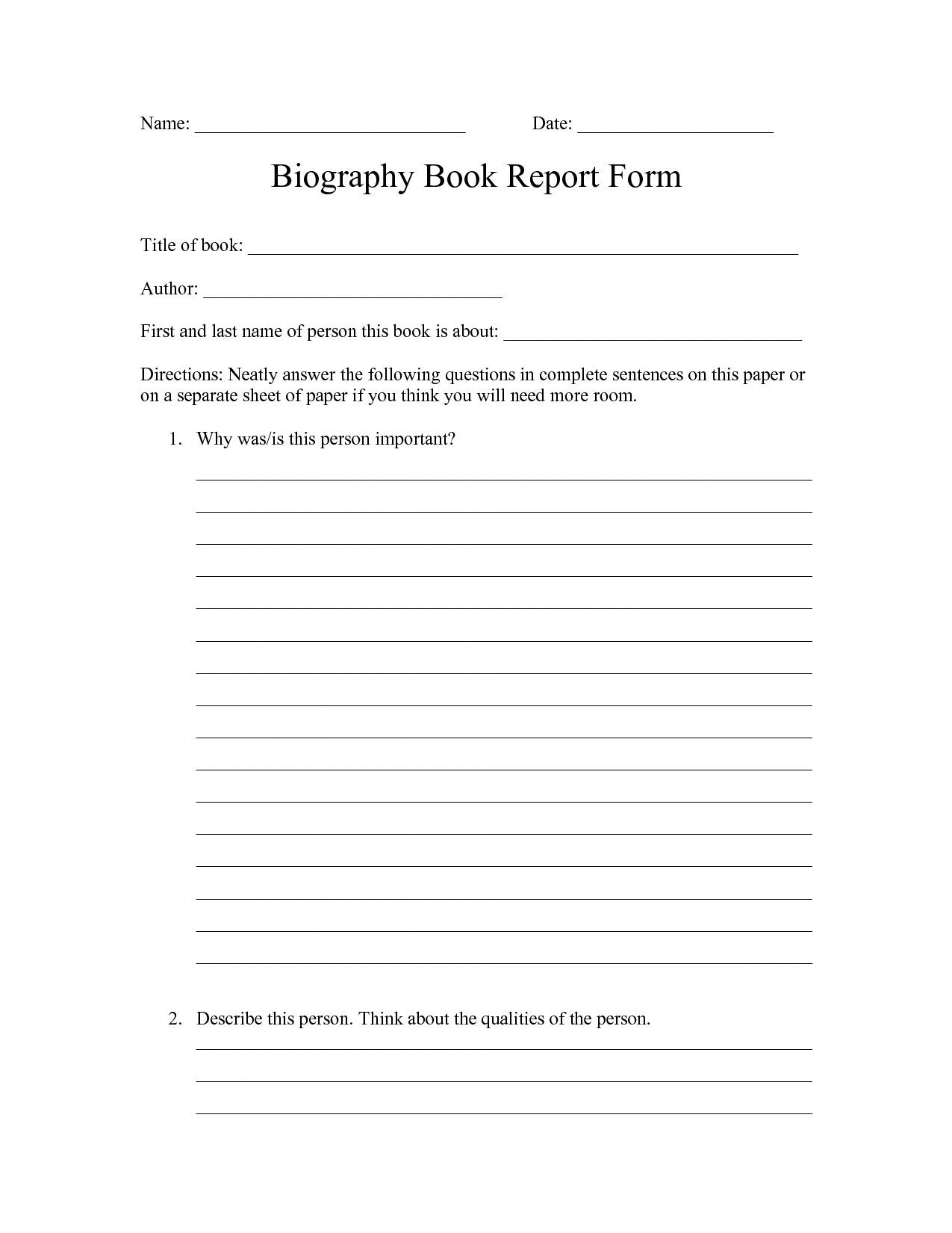 2nd Grade Biography Report Form