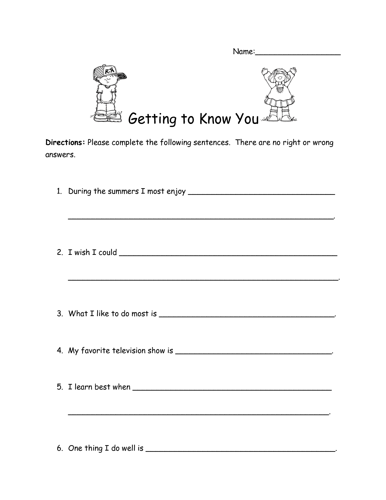 14 Best Images Of Worksheets About You