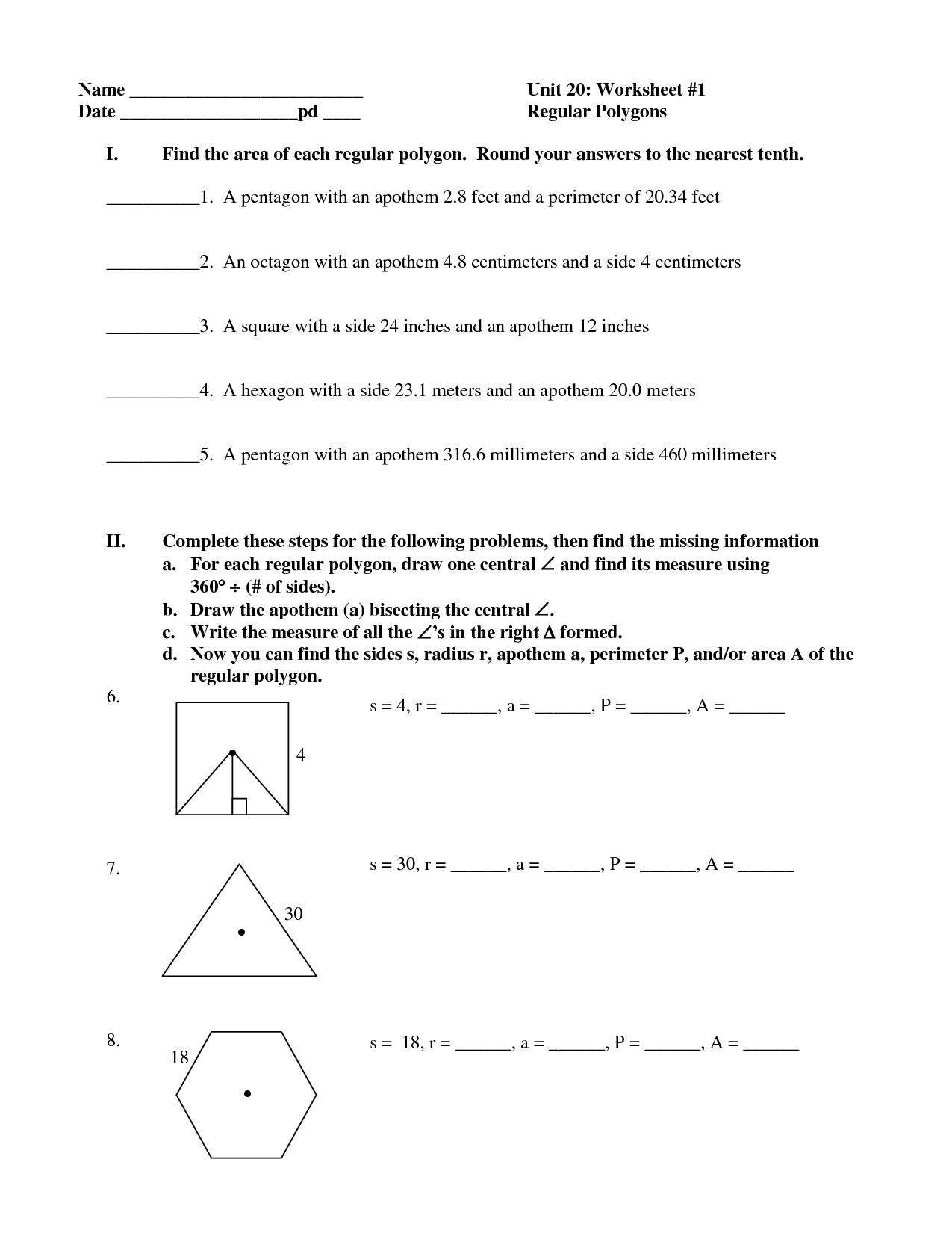 Regular Polygon Shapes Worksheet