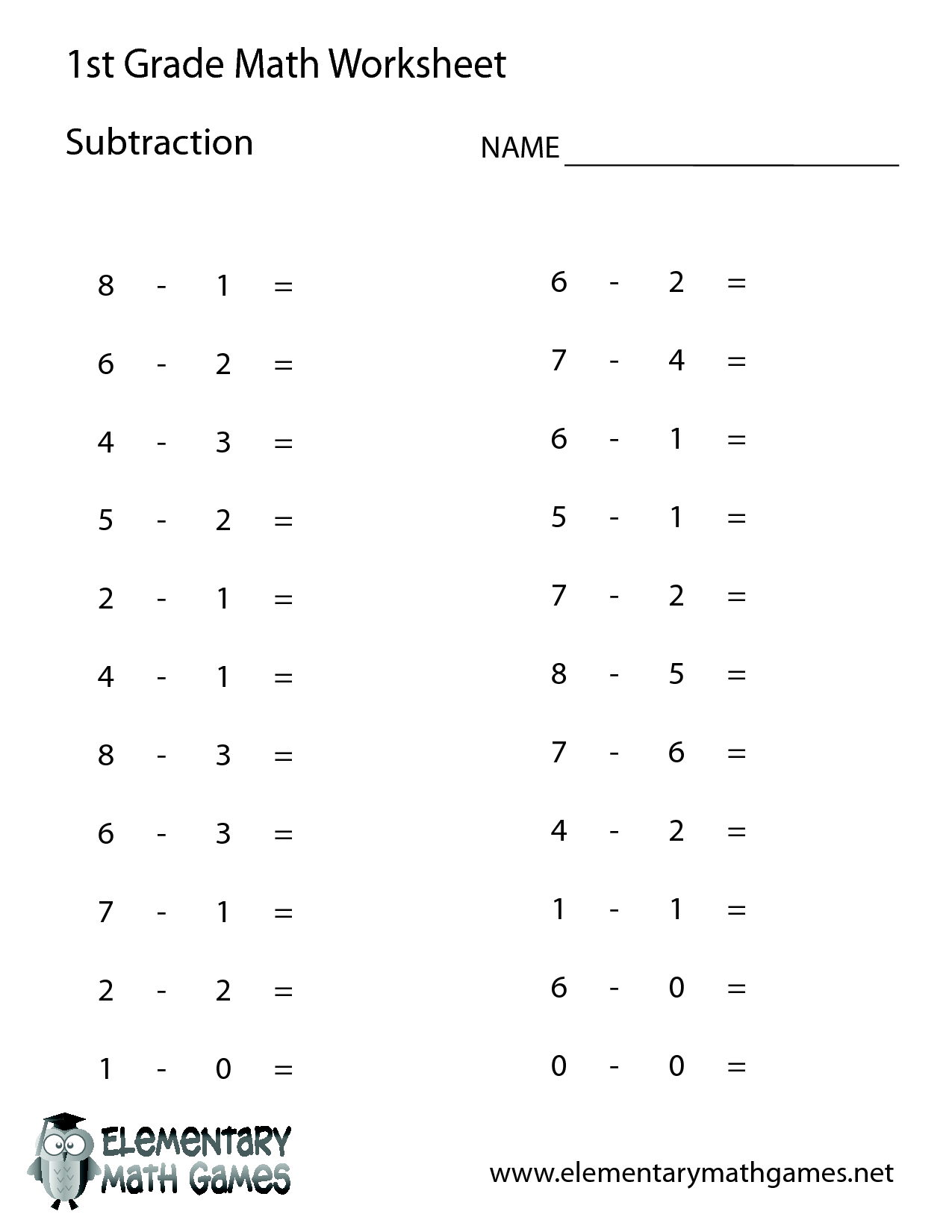 1st Grade Worksheet Category Page 2