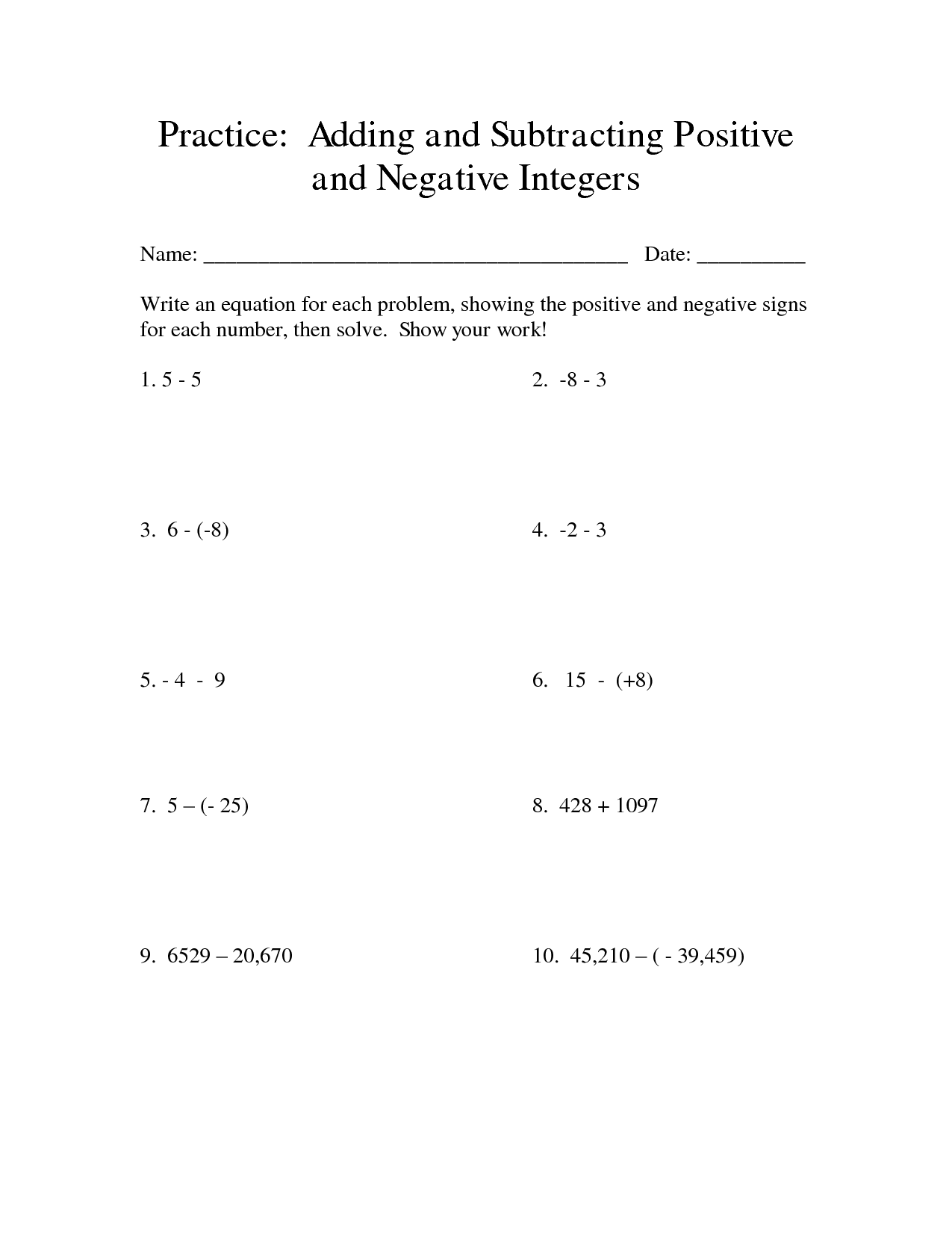 18 Best Images Of Positive And Negative Numbers Worksheets