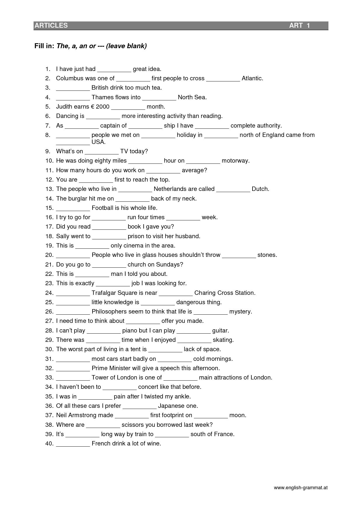 Kindergarten Worksheet Grammar Rules
