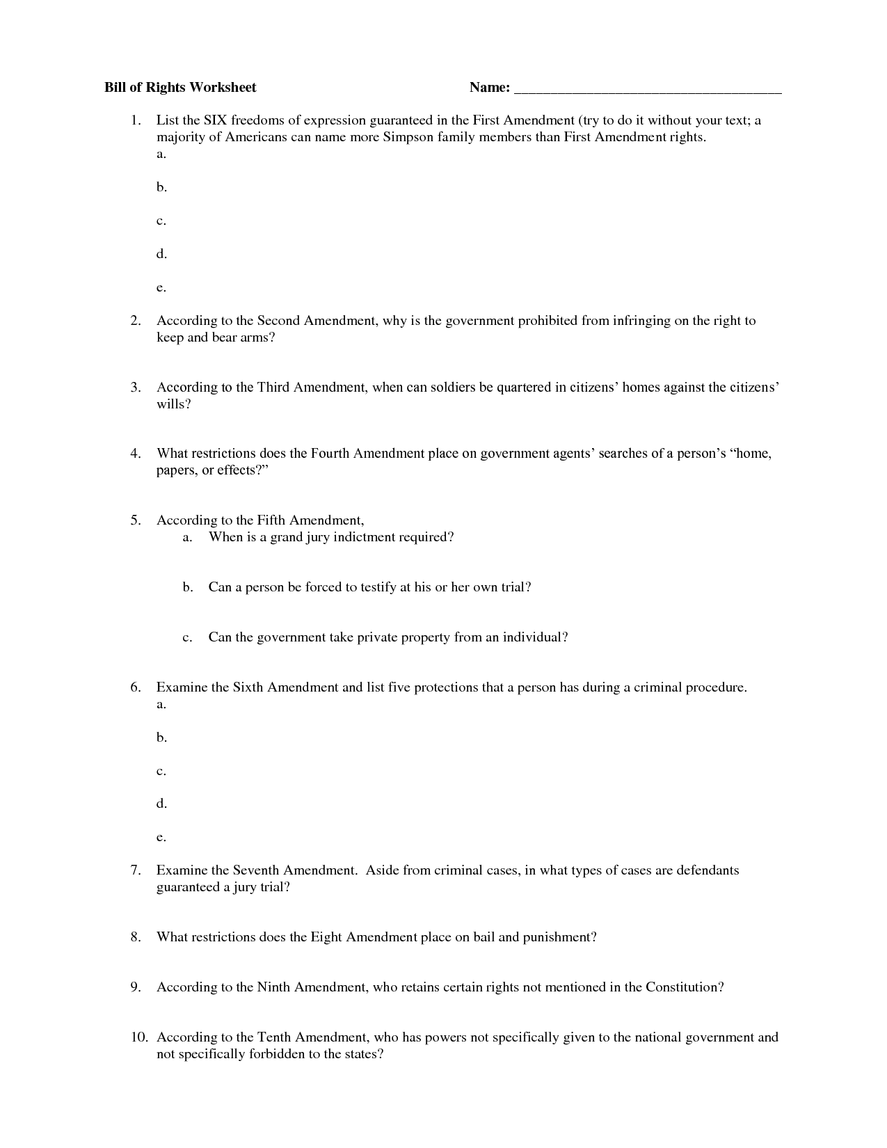 12 Best Images Of The Amendments Without Meaning Worksheet