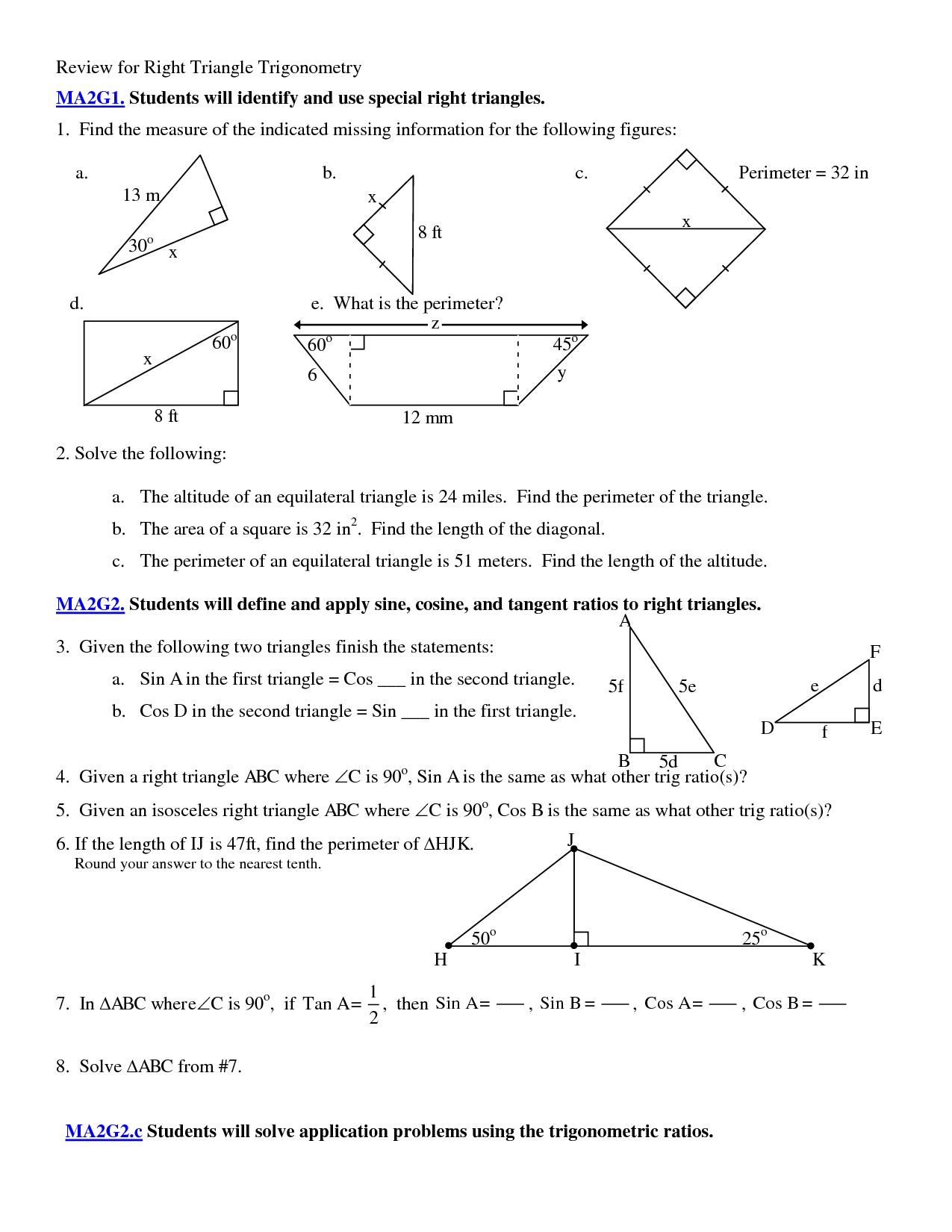 5 Best Images Of Applications Of Trigonometry Worksheet