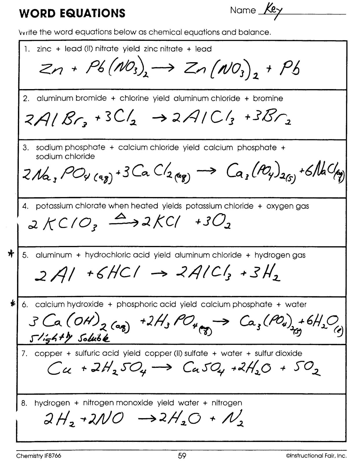 12 Best Images Of Types Of Chemical Reactions Worksheet Answers