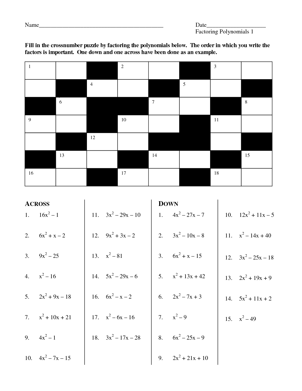 Algebra Puzzle Worksheet Winter