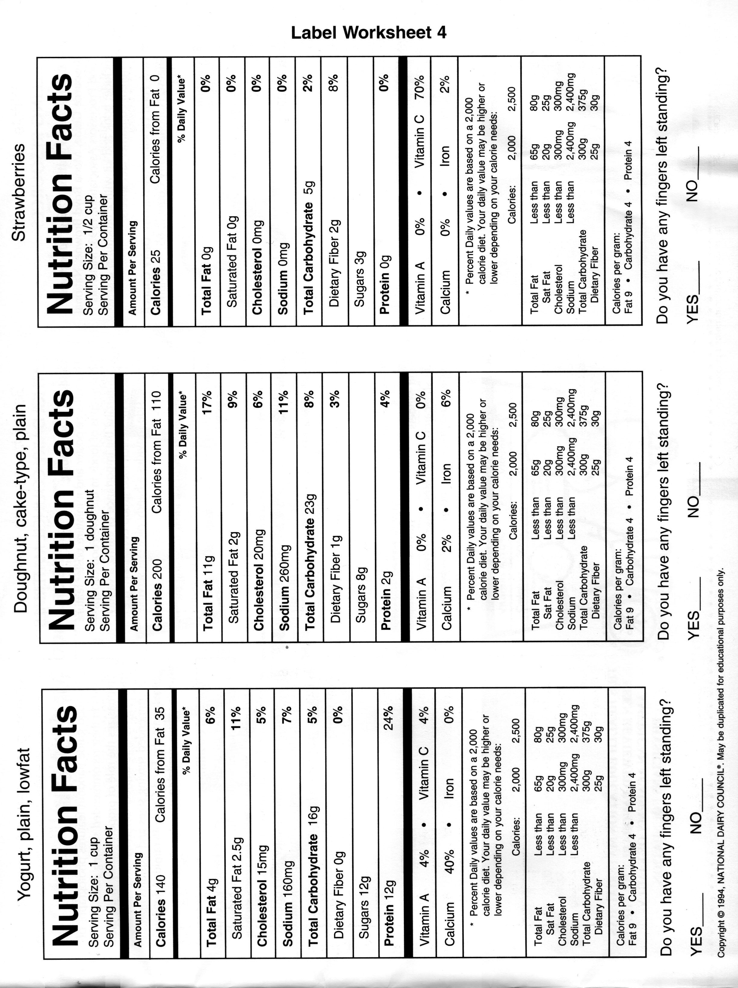Food Nutrient Worksheet