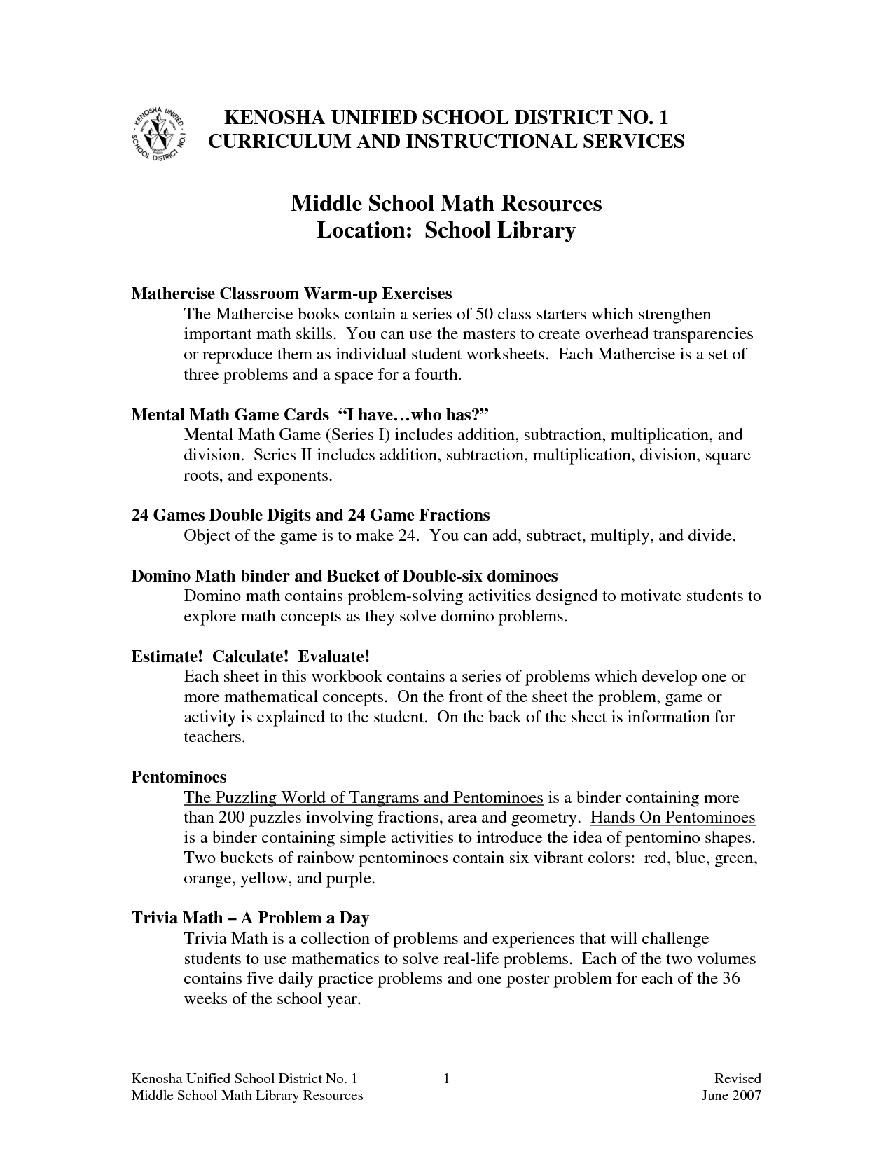 Preamble Worksheet Middle School