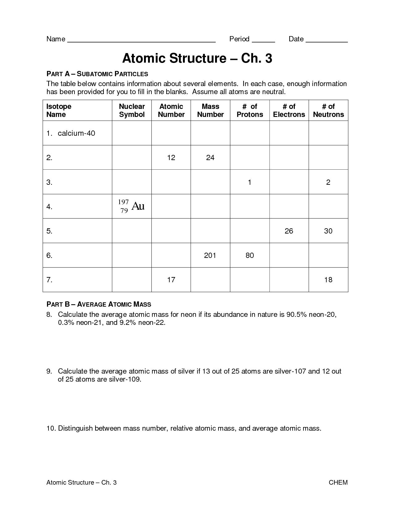 Atomic Basics Worksheet With Answers