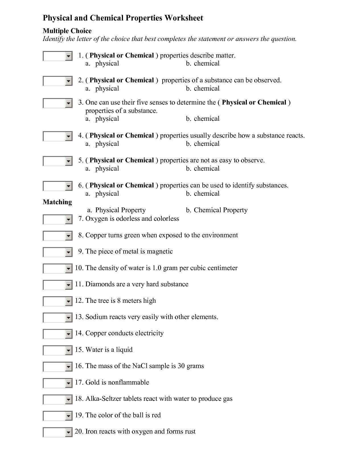 Behavior Of Matter Worksheet