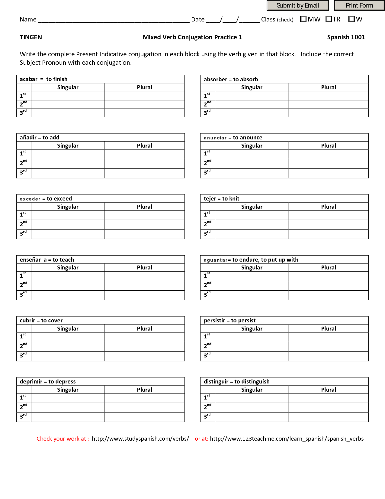 Cozy 18 Best Images Of Spanish Conjugation Worksheets