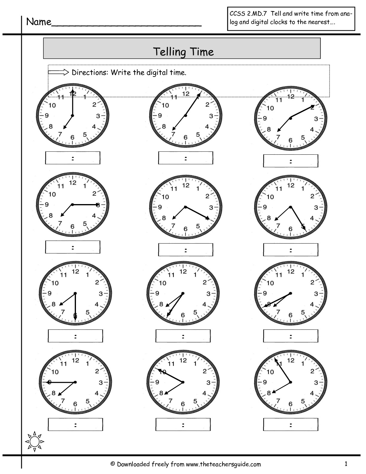 18 Best Images Of 5 Minutes Clock Time Worksheets 2nd Grade