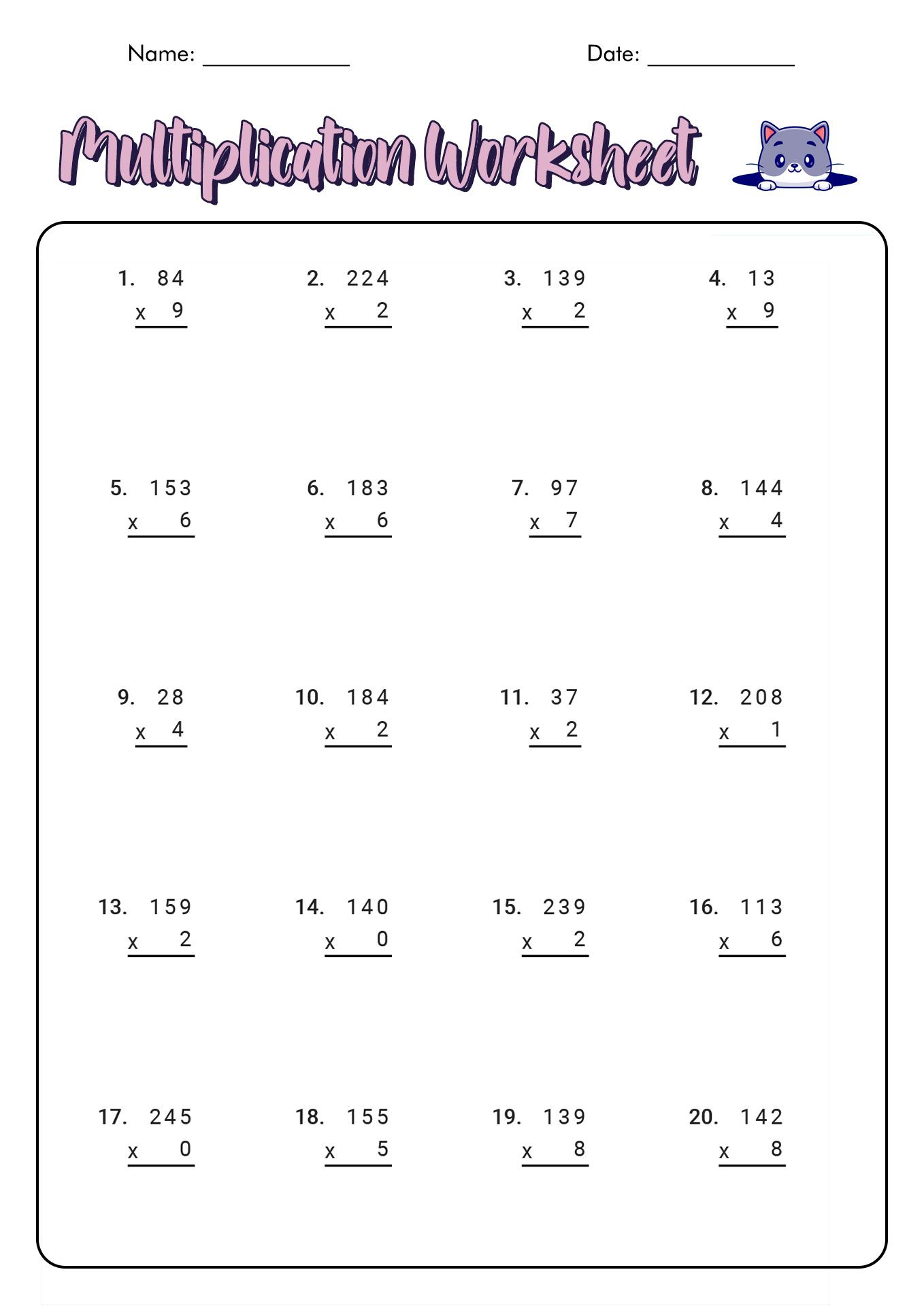 14 Best Images Of Multiplication Worksheets For 5th Grade