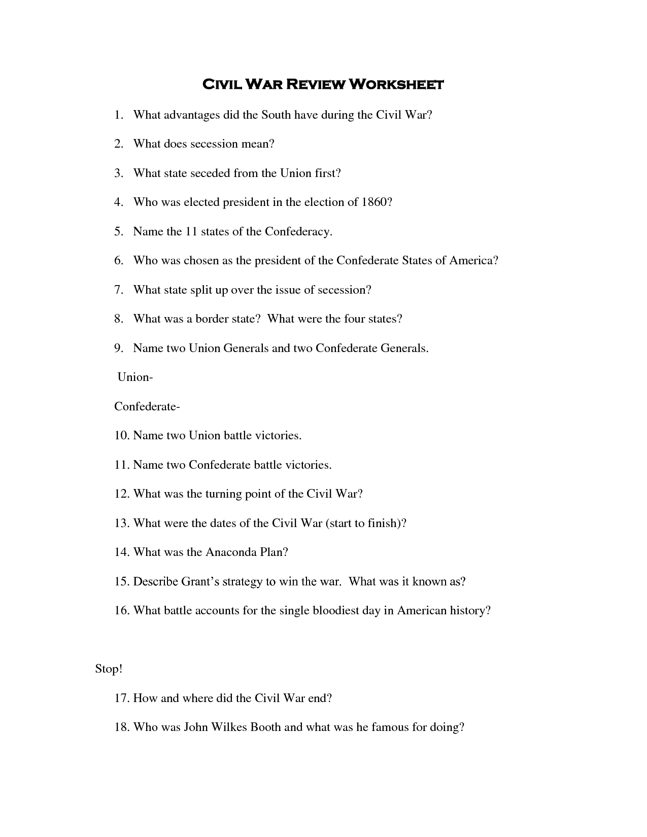 9 Best Images Of Louisiana Civil War Worksheet