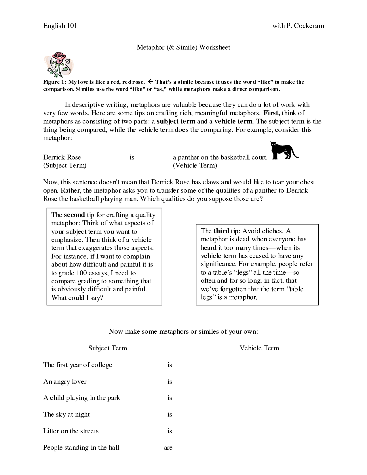 19 Best Images Of Metaphor Worksheet High School