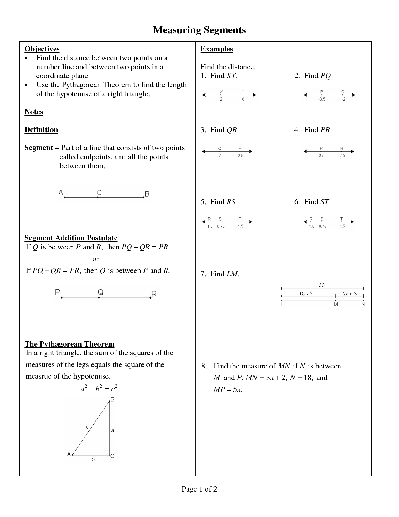 Segment Addition Easy Worksheet