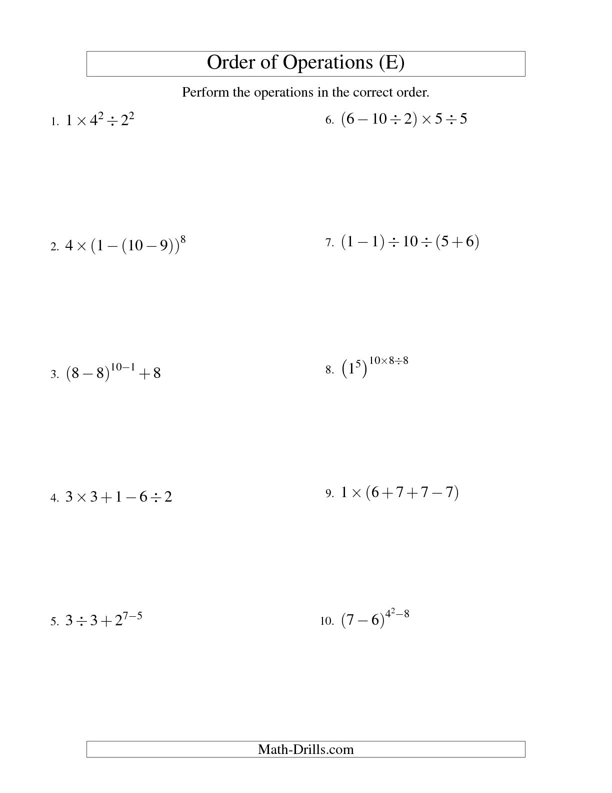 13 Best Images Of Evaluating Expressions Worksheets 7th