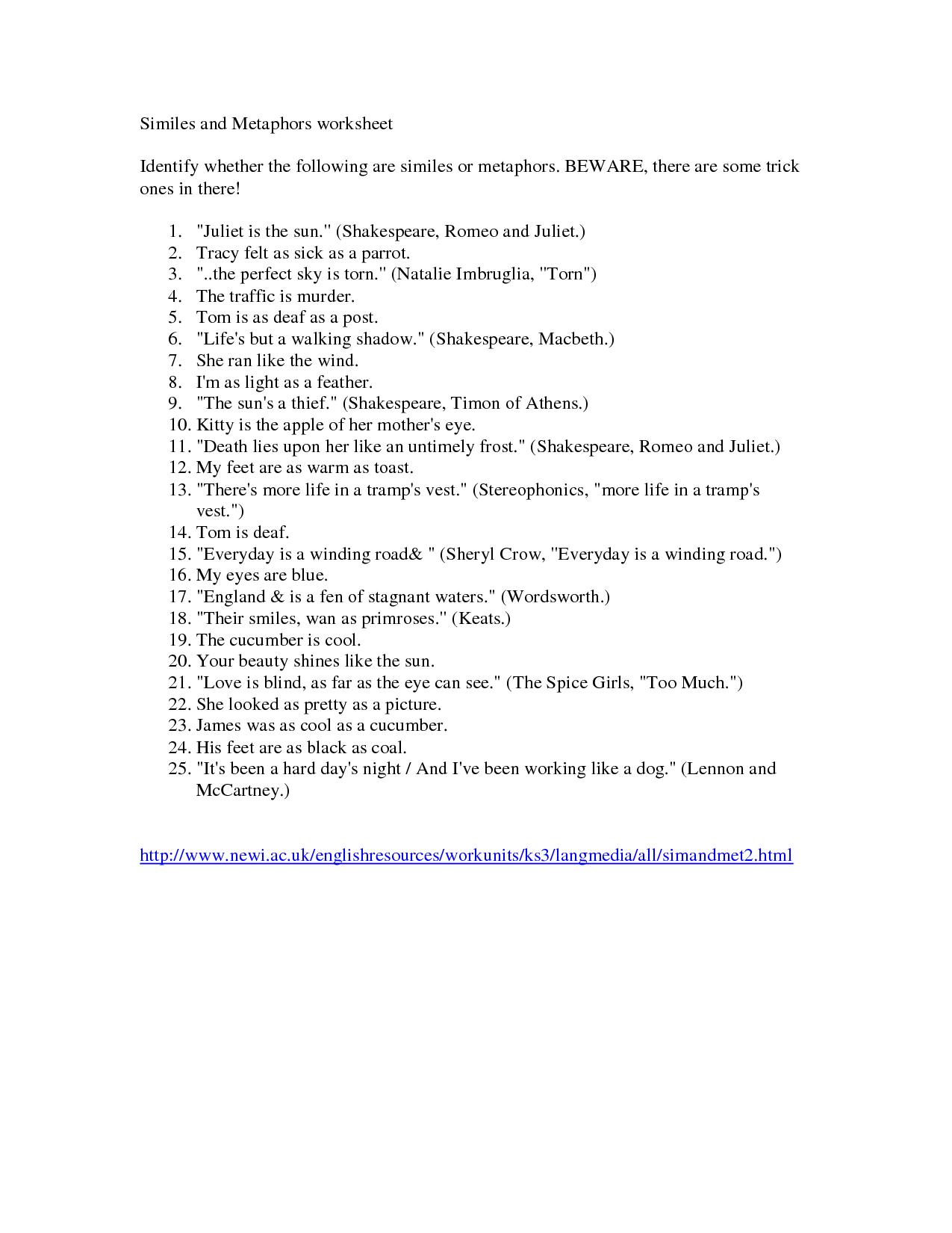Worksheet List Similes