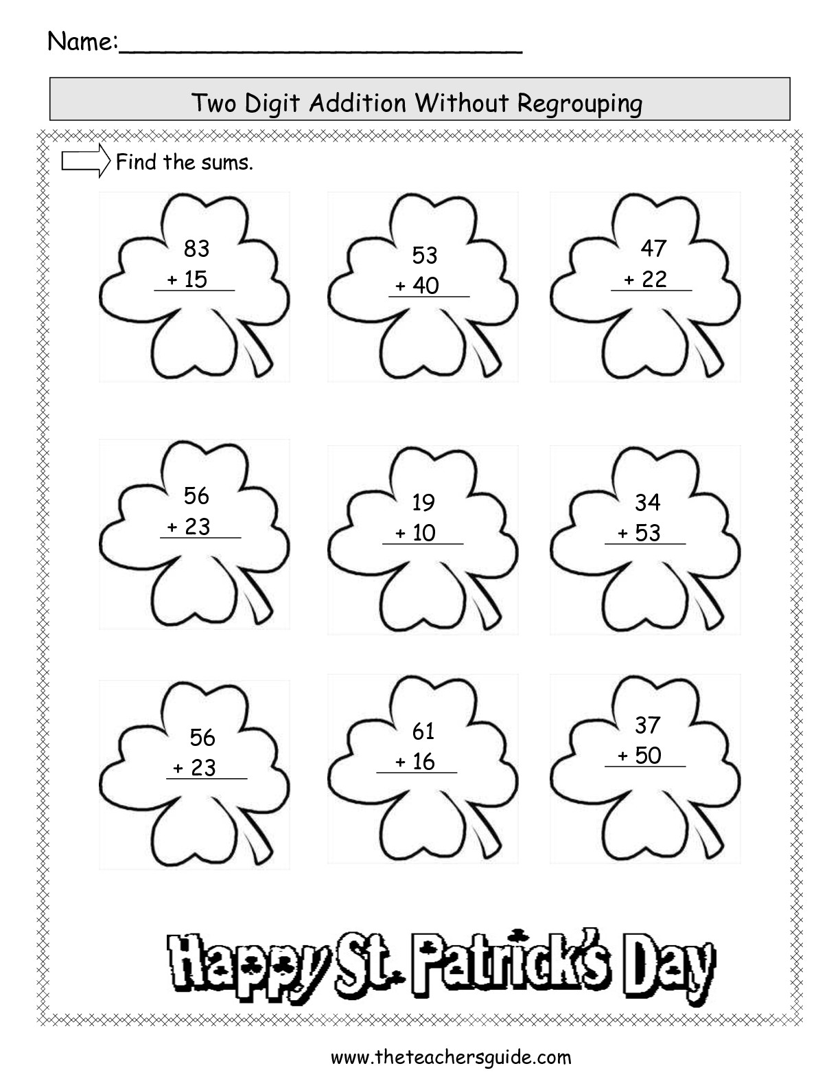 19 Best Images Of 2 Digit Addition Worksheets No Regrouping