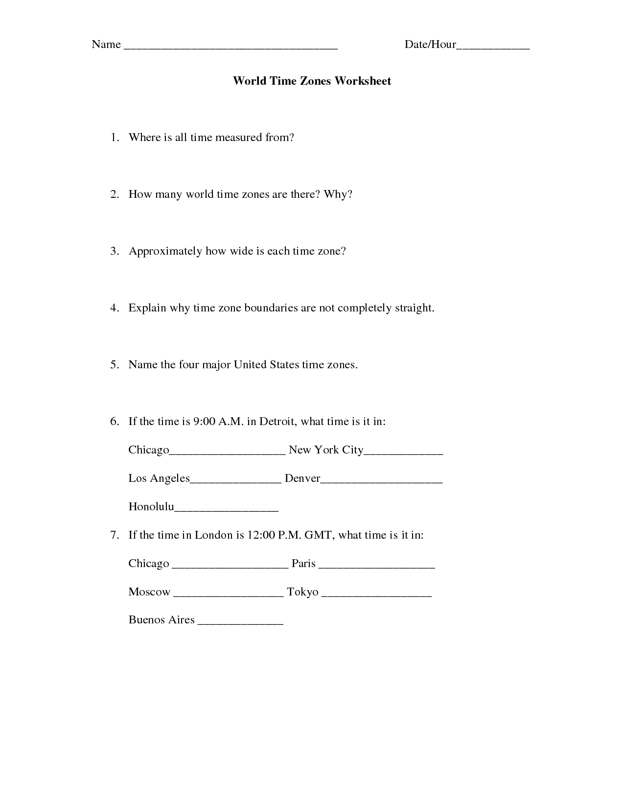 10 Best Images Of Printable Time Zone Worksheets