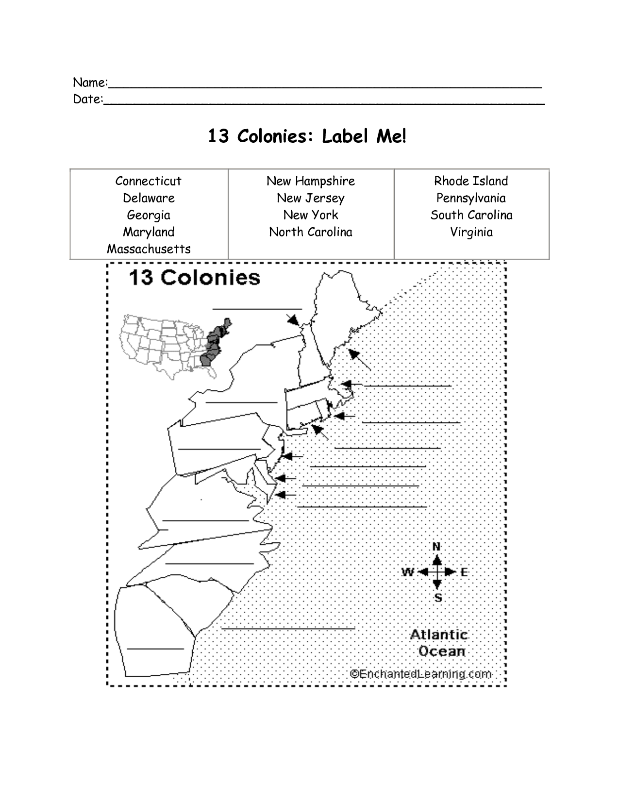 On The Original Colonies Worksheet