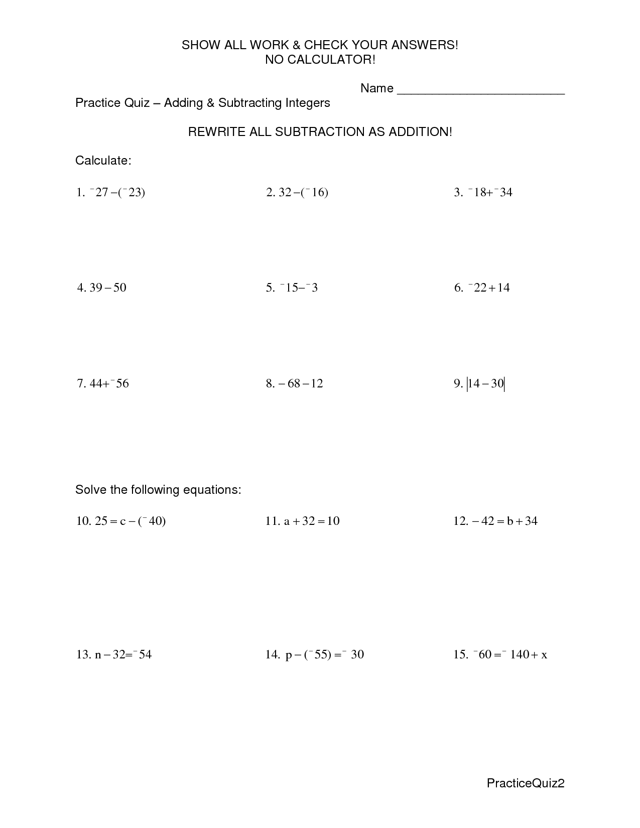 Adding And Subtracting Integers Worksheet With Answers