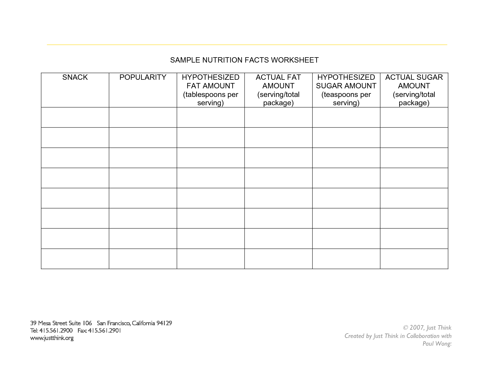 Food Worksheet Category Page 4