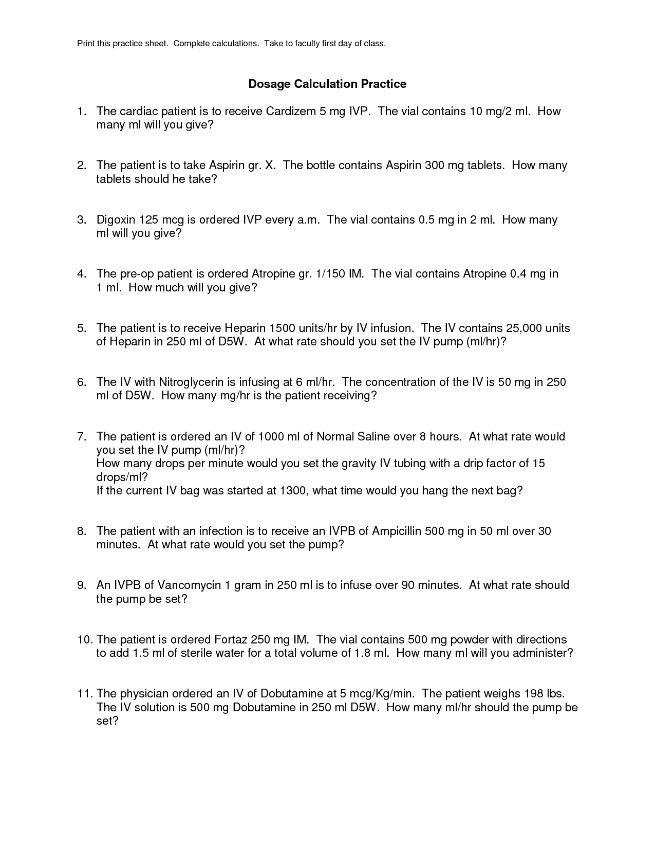11 Best Images Of Med Math Worksheets