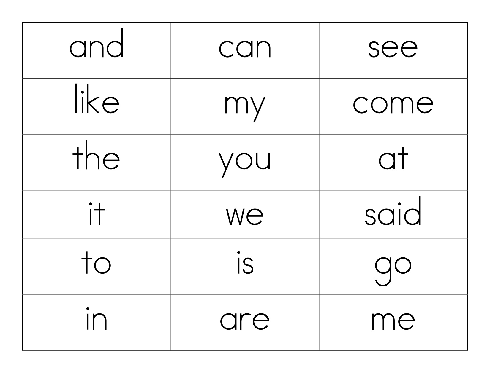 19 Best Images Of High Frequency Words Printable