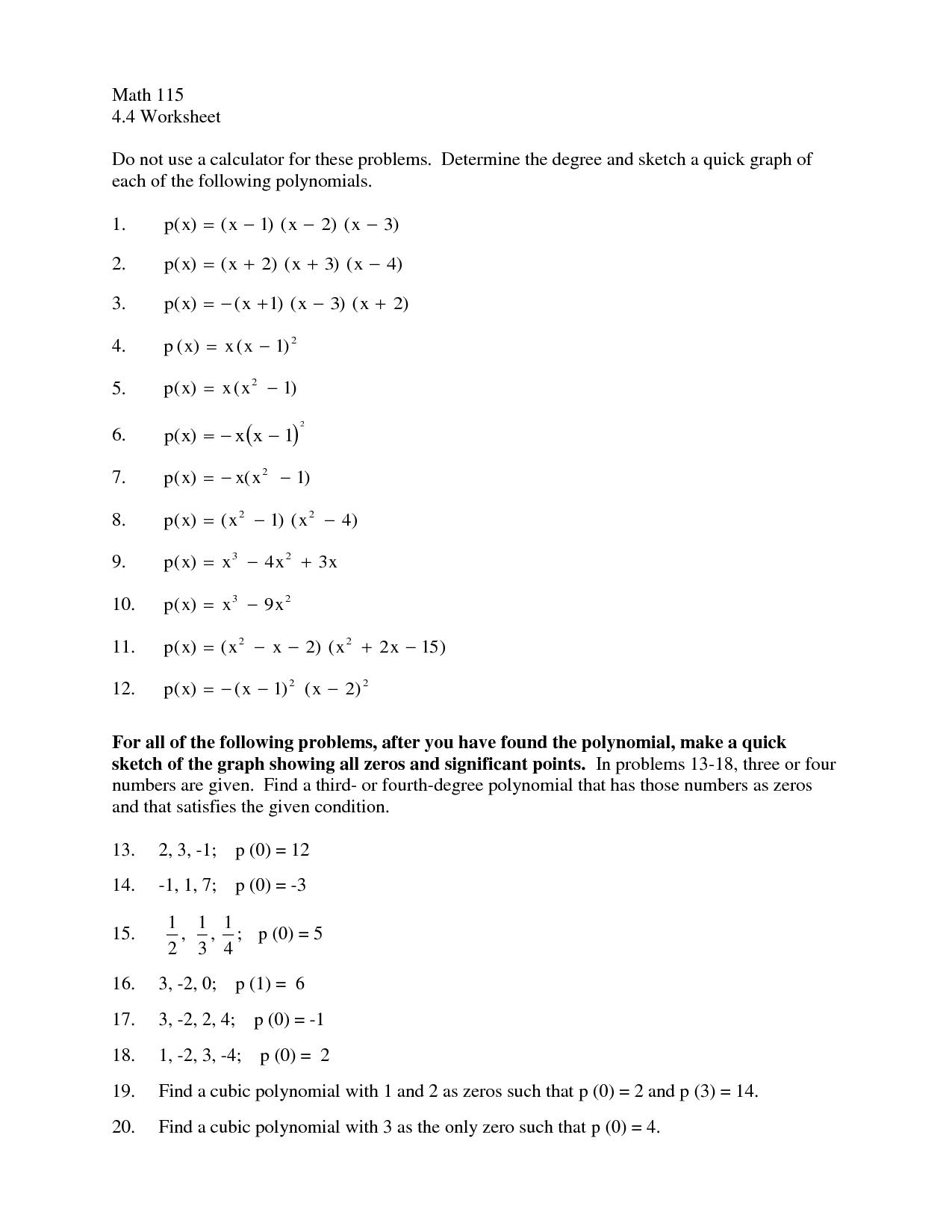 Simple Exponential Worksheet