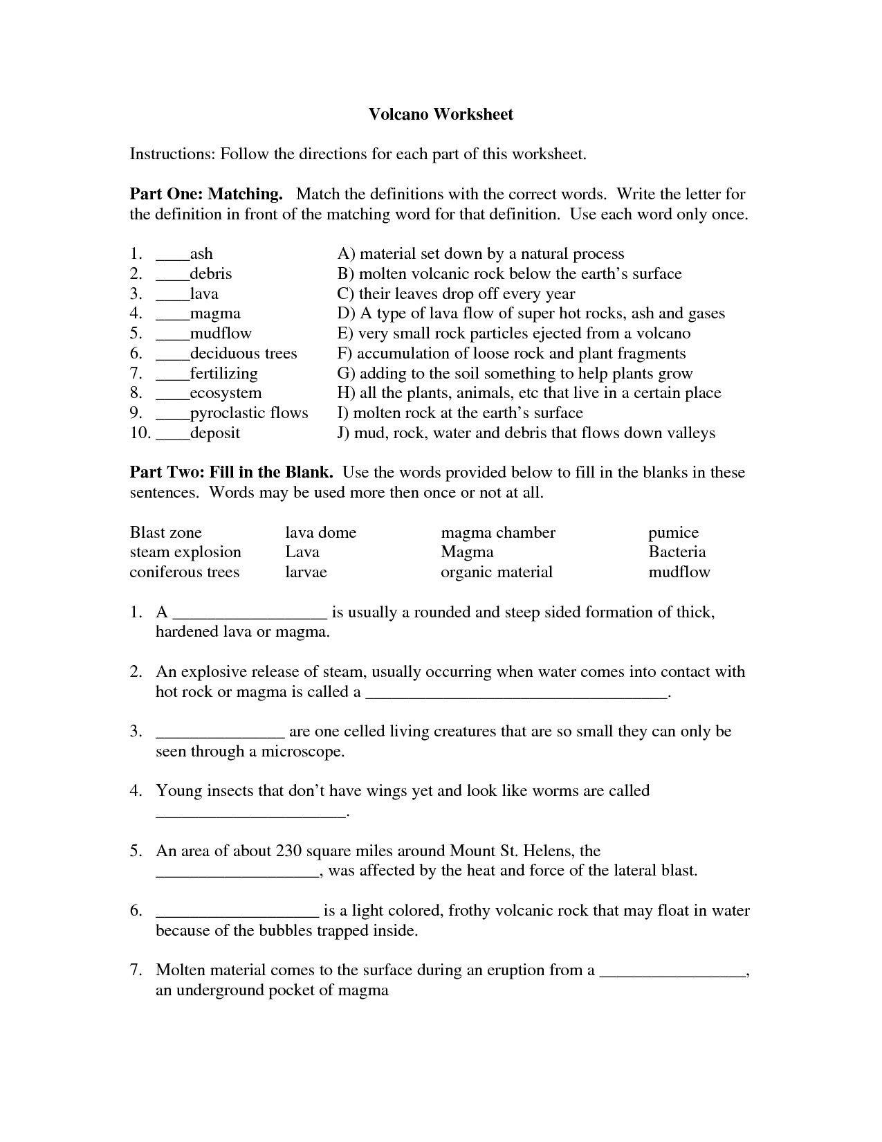 Cozy Types Of Volcanoes Worksheets The Best Worksheets