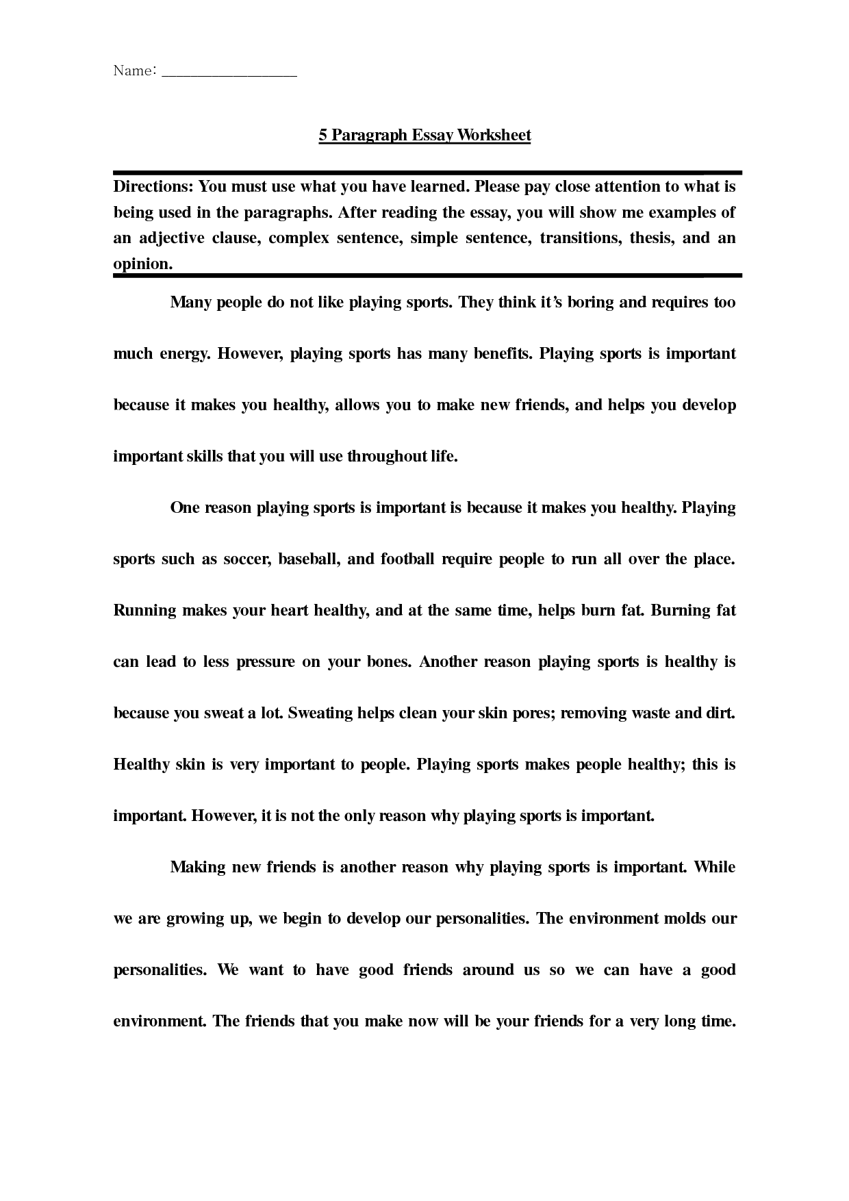 Five Paragraph Essay Worksheet Outline