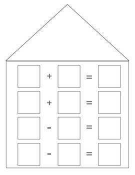 Fact Family Houses Template. colouring pages. worksheets blank and ...